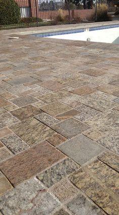 Recycled granite paving stones
