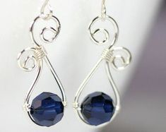 Swarovski crystal and silver wire wrapped earrings