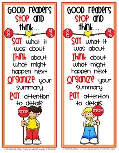 Help your students remember to STOP and think while they read with these colorful bookmarks.Enjoy the file for free!...