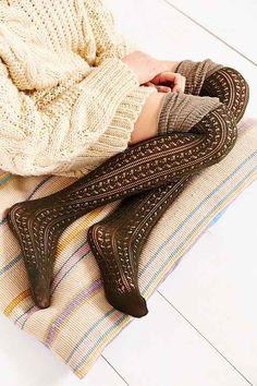 Tonal Scrunch Over-The-Knee Sock - Urban Outfitters (Thigh high socks! Urban Outfitters, Style Feminin, Thigh High Socks, Thigh Highs, Knee Highs, Look Girl, Winter Stil, Cute Socks, Autumn Winter Fashion