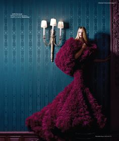 Maud Welzen in Jantaminiau Haute Couture, photographed by Benjamin Kanarek for Harper's Bazaar España November 2012