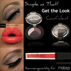 Luscious coral red (trend setter) lips with our baked mineral shadow (confident) club night