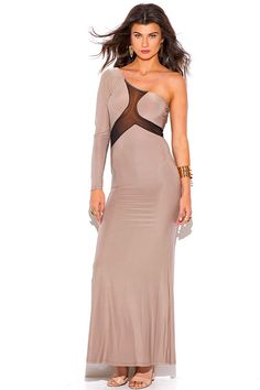 Mesh-Inset-One-Shoulder-Evening-Maxi-Dress from Bonita Moda Boutique