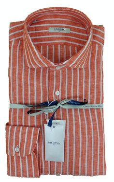 Delsiena 2869 30 - Orange White Stripe Linen Shirt - £85 with FREE UK Delivery #Shirts #Mens #Delsiena