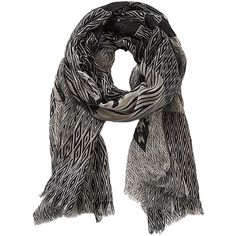 Betty & Co. Long Graphic Print Scarf, Taupe/Black (475 MXN) ❤ liked on Polyvore featuring accessories, scarves, long scarves, patterned scarves, lightweight shawl, long shawl and chevron scarves
