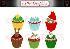 Christmas Cupcakes Clip-art in a PNG format. Personal & Small Commercial use