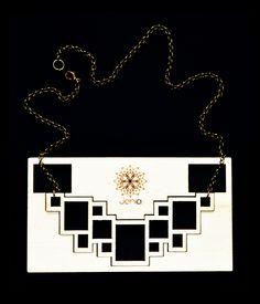 Jenia . lasercut poplar wood . rectangle necklace . contemporary jewelry design www.jeniadesign.com Machining Process, Laser Cutting, Geometry, Jewelry Design, Jewels, Contemporary, Wood, Madeira, Jewelery