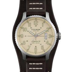 ca2e3c040ec Filson Mackinaw Field Watch- Cream with Brindle Leather Stap