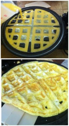 17 Unexpected Foods You Can Cook In A Waffle Iron : such as this example of cooking eggs in the waffle iron... clever!