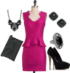 """""""hot pink dress"""" by myfabcloset on Polyvore"""