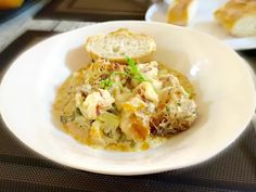 Lobster and cod casserole. You'll lick your plate! Too good to be true. Very lite and filling food!