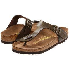 Birkenstock Gizeh Birko-Flor (Golden Brown Birko-Flor ) Women's... ($95) ❤ liked on Polyvore featuring shoes, sandals, narrow sandals, brown sandals, birkenstock shoes, birkenstock sandals and shock absorbing shoes
