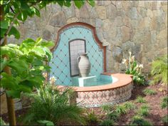 Old California and Spanish Colonial Style fountain Tuscan Style Homes, Spanish Style Homes, Spanish Revival, Spanish House, Spanish Colonial, Spanish Design, Outdoor Wall Fountains, Water Fountains, Spanish Garden