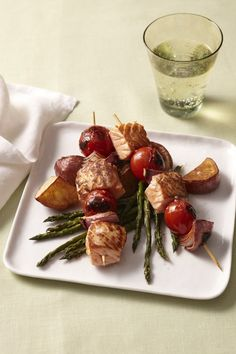 Salmon Skewers over Roasted Vegetables from familycircle.com #myplate #seafood