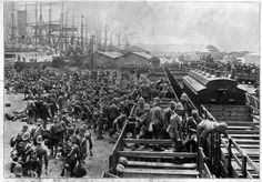 Durban- harbour -British troops arriving Durban during the Boer War British Armed Forces, British Soldier, British Army, World Conflicts, Age Of Empires, Kwazulu Natal, British Colonial, African History, Military History