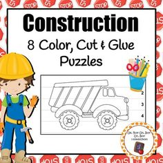 Add these puzzles to your math, fine motor or craft table during your construction or community helper unit.Have students color pictures, cut on dashed lines, glue strips of paper (in number order) onto construction paper.8 puzzles graphics include:dump truckcement truckexcavatorcaution conesconstruction workersstop signroad barriertoolsAdditional items needed: crayons, scissors, glue and paper.Please note that this set is included in my Construction Activities GROWING Bundle!***Be sure to…