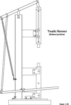 Manual trip-hammer in Introductions - Visit Here First Forum Power Hammer Plans, Blacksmith Power Hammer, Blacksmith Forge, Forging Tools, Forging Metal, Forging Knives, Metal Working Tools, Metal Tools, Diy Forge