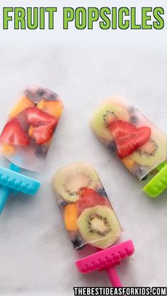 FRESH FRUIT POPSICLES - these are easy and fun to make! Made with fresh fruit and flavored water these homemade popsicles taste so good! Kids will love helping to make them too! An easy homemade fresh fruit popsicle recipe. Homemade Fruit Popsicles, Healthy Popsicles, Healthy Snacks, Healthy Recipes, Fruit Snacks, Good Snacks, Gummy Bear Popsicles, Kiwi Popsicles, Frozen Yogurt Popsicles