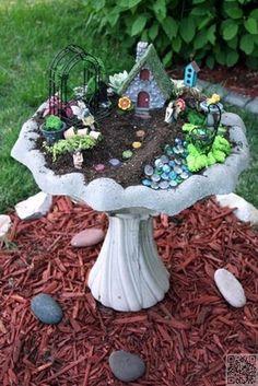18. Use a #Birdbath - 48 Fantastic Fairy #Gardens for Your Yard ... #Fantastic