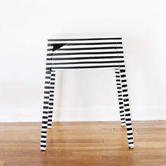 striped ikea nightstand hack