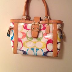 Authentic Colorful Coach Bag This bag was gently used. Has a couple of minor blemishes but nothing too noticeable! Coach Bags