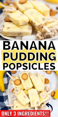 Banana Pudding Popsicles are easy to make with only 3 ingredients: banana pudding, vanilla wafers, and frozen bananas. Banana Pudding Cupcakes, Banana Popsicles, Banana Cream Pudding, Banana Pudding Recipes, Banana Dessert, Pudding Pop, Cold Desserts, Homemade Desserts, Frozen Desserts