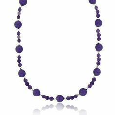 Sterling Silver Genuine Amethyst Stone Bead Long Necklace 30? SilverSpeck.com. $29.99. Width: 8 millimeters. Total item weight: 34.3 grams. Length: 30 inches. Save 25%!