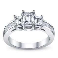 Ladies 14K White Gold Diamond Engagement Ring 1.46CT TW