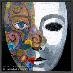 Glasmosaik Bild 'Maskerade', mosaic mask