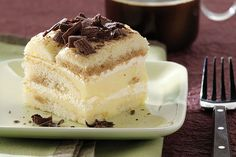 A vanilla pudding filling puts a tasty twist on classic tiramisu. Chocolate lovers, not to worry—there's still grated chocolate on top!
