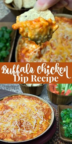 Delicious warm and gooey Baked Buffalo Chicken Dip is the perfect addition to any party from Christmas to of July ( Don't forget Super Bowl too)! Includes directions for baking the or cooking it in a Best Party Appetizers, Easy Appetizer Recipes, Dip Recipes, Chicken Recipes, Healthy Recipes, Healthy Dips, Delicious Recipes, Yummy Food, Buffalo Chicken Dips
