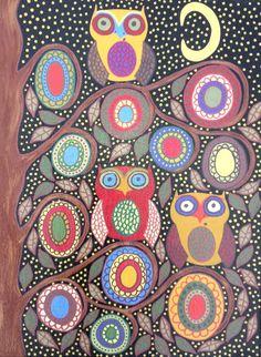 Kerri Ambrosino Art NEEDLEPOINT Mexican Folk Art  Night Owls Moon Stars Family Flowers on Etsy, $22.99