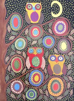 Kerri Ambrosino Art NEEDLEPOINT Mexican Folk Art  Night Owls Moon Stars Family Flowers on Etsy, $22.99
