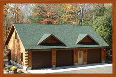 Garages - Cedar Knoll Log Homes - Plans, kits and manufactured White Pine & White Cedar Log Homes & Cabins 3 Car Garage, Garage Plans, Garage Ideas, Yard Ideas, Style At Home, Log Cabin Living, Cedar Log, Garage Apartments, Home Design Plans