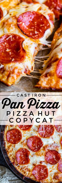Make pizza at home that tastes just like Pizza Hut! This Cast Iron Pan Pizza Recipe makes a ciabatta-like crust with fried edges and a chewy soft center. Pizza Hut Pan Pizza, Cast Iron Recipes, Cast Iron Pizza Recipe, Soft Pizza Crust Recipe, Copycat Pizza Dough Recipe, Homemade Pan Pizza Recipe, Cast Iron Pizza Pan, Easy Homemade Pizza, Comida Pizza
