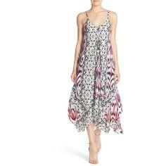 Charlie Jade Print Silk Handkerchief Dress ($198) ❤ liked on Polyvore featuring dresses, handkerchief dress, print dress, strap dress, white print dress and silk handkerchief dress