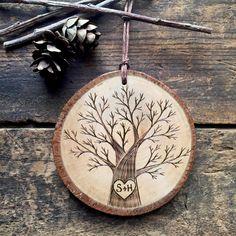 Wood burned heart & initials on single tree. Personalized wood