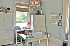 Simplicity: Elegant Home Office  This room was just a shell. Sherwin Williams Rainwashed