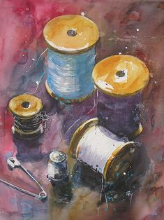 Aquarelle Bobines et compagnie Rey Catherine. Art by Independent Artists. Abstract Watercolor, Watercolor Illustration, Watercolour Painting, Painting & Drawing, Watercolors, Art Fantaisiste, Afrique Art, Sewing Art, Still Life Art