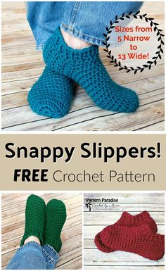 Free Crochet Pattern: Snappy Slippers Pattern Paradise by Vickie Bell Easy Crochet Slippers, Crochet Slipper Boots, Crochet Socks Pattern, Crochet Stitches, Knitting Patterns, Free Crochet Slipper Patterns, Booties Crochet, Crochet Boot Socks, Crochet Symbols