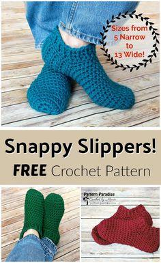 Free Crochet Pattern: Snappy Slippers Pattern Paradise by Vickie Bell Easy Crochet Slippers, Crochet Slipper Boots, Crochet Socks Pattern, Crochet Stitches, Knitting Patterns, Free Crochet Slipper Patterns, Booties Crochet, Slipper Socks, Crochet Boot Socks