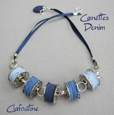"What a great idea for a gift for your favorite seamstress or quilter. Use and extruder to make polymer clay ""thread"" that you wrap around a regular metal sewing bobbin. Make into a necklace and there you are. This is made (and beautifully) by Clafoutine"