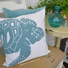 @BirchLane Sea Turtle pillow cover www.foxhollowcottage.com Coastal Cottage Home Decorating