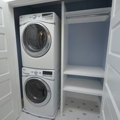 Stacked Washer Dryer Laundry Room Ideas | Wood shelving and stacked washer and dryer create a Laundry Room in ...