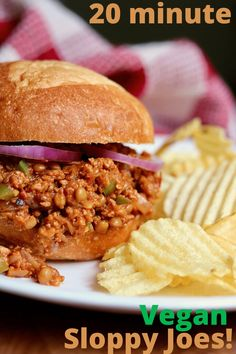 Vegan Sloppy Joes! The best easy meatless manwich recipe! Lentils, vegan crumbles simmered in a savoury sweet tangy tomato sauce, piled on a bun and devoured! A classic sandwich. Ready in 20 minutes.