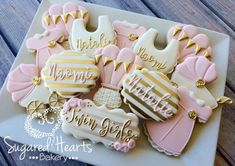 Pink and Gold Baby Shower Sugar Cookies TheIcedSugarCookie.com Sugared Hearts Bakery