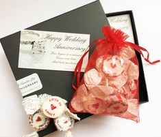 Anniversary Gift Box Anniversary Message, Personalized Anniversary Gifts, Happy Anniversary, Love Is Sweet, Love Is All, Two Hearts One Love, Rhubarb And Custard, Strawberry Smoothie, Gift Boxes