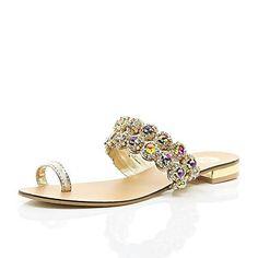 Gold gemstone embellished toe loop sandals £35.00