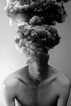 think tank | billowing clouds of smoke | smokescreen | brain strain | head explosion | atom bomb brain | black & white fine art photography | quirky | weird
