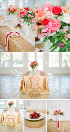 Rose gold and blush sequin table cloth - elegant table decor